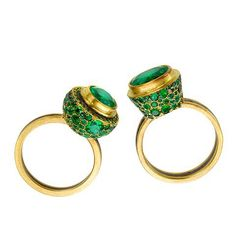 Luscious Judy Geib random emerald pavé rings available at Barneys
