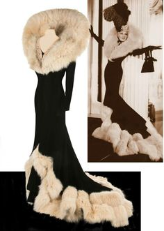 "Schiaparelli fur-lined gown for Mae West, as Peaches O'Day, in ""Every Day's a Holiday"", 1937 Vintage Outfits, Vintage Gowns, Vintage Mode, 1930s Fashion, Look Fashion, Vintage Fashion, Fashion Outfits, Fashion Design, Winter Fashion"
