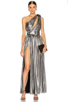 Shop for retrofete Andrea Maxi Dress in Gunmetal at FWRD. Free 2 day shipping and returns. High Fashion Dresses, Sexy Dresses, Nice Dresses, Evening Dresses, Chic Outfits, Fashion Outfits, Metallic Dress, Dress Brands, Dress To Impress