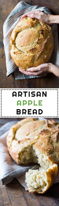 This is a real artisan apple bread with fresh apples. 12-hour starter, knead, rise, fold in apples, rise again, bake, give it a bite and fly to heaven! via @greenhealthycoo