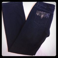 NWOT White House Black Market Jeans Beautiful Black Jeans With Bling On The Pocket..Blanc! White House Black Market Jeans Boot Cut