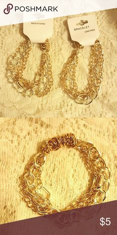 2 pc chain bracelets You are looking at 2 pc stretchable  chain gold and silver tones, will fit most wrists Jewelry Bracelets