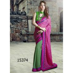 Designer Georgette Floral Style Print Design Party Wear Pink & Green Saree - 15374 ( ML - 895 )