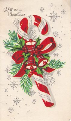 vintage candy cane greeting card
