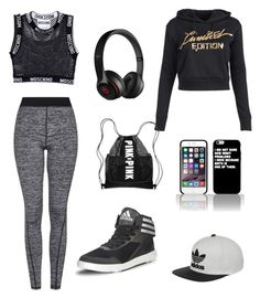 """""""Work out in style"""" by abandele on Polyvore featuring Topshop, adidas Originals, Moschino, Beats by Dr. Dre and adidas"""
