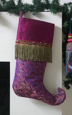 Fantasy Christmas Stocking in Purple Fuchsia and Gold  by JujuBart, $60.00