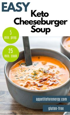 If you're having a busy day or week, then Easy Low Carb Cheeseburger Soup will revive your soul with just one pot, 30 minutes and maybe a little bacon. The simple keto recipe is loved by kids and families. Ideal for ketogenic & keto diets & gluten-free. Healthy Low Carb Recipes, Ketogenic Recipes, Diet Recipes, Ketogenic Diet, Kids Soup Recipes, Lunch Recipes, Dessert Recipes, Healthy Soups, Protein Recipes