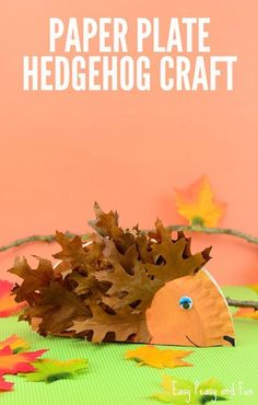 Paper Plate Hedgehog Craft - Fall Crafts for Kids - Easy Peasy and Fun - Halloween/Autumn, Autumn Crafts, Crafts For Kids To Make, Nature Crafts, Art For Kids, Harvest Crafts For Kids, Winter Craft, Toddler Crafts, Preschool Crafts, Fun Crafts