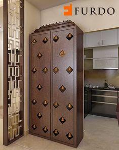 Exquisite wooden Puja Cabinet/Mandir with bells by Furdo Temple Design For Home, Mandir Design, Pooja Room Door Design, Puja Room, Small Bathroom Storage, Room Closet, Room Doors, Closet Doors, Amazing Bathrooms