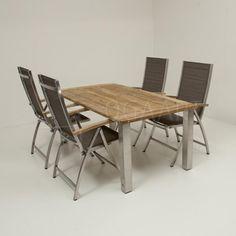 4-Seasons Nexxt mocca met Casa teak/rvs - 180x90cm