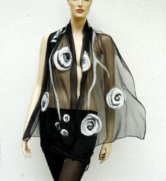 Nuno felted scarf flowers - silk and merino wool black and white