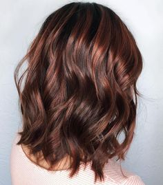 Wavy+Chocolate+Brown+Lob with chocolate cherry highlights