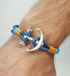 Natural Anchor bracelet. Mens Bracelet, Women bracelet, Natural Marine bracelet / Rope Bracelet / Blue orange Bracelet MEASUREMENT: Select the