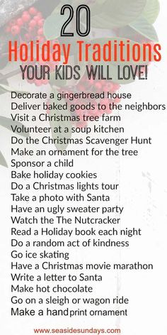 Christmas Traditions for kids. Holiday Bucket list of fun family activities. Christmas Traditions for kids. Holiday Bucket list of fun family activities. Christmas Traditions for kids. Holiday Bucket list of fun family activities. Traditions To Start, Holiday Traditions, Family Traditions, English Christmas Traditions, Christmas Tree Farm, Noel Christmas, Xmas, Kids Christmas Gifts, Christmas Ideas For Kids
