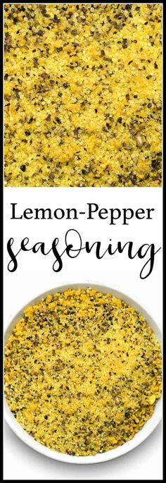 Lemon pepper seasoning is great with fish, chicken wings or even as a popcorn seasoning! Get the recipe plus ideas for how to use it and what you can add to it. Lemon Pepper Sauce, Baked Lemon Pepper Chicken, Lemon Pepper Chicken Wings, Lemon Pepper Seasoning, Lemon Herb Seasoning Recipe, Seafood Recipes, Cooking Recipes, Smoker Recipes, Rib Recipes
