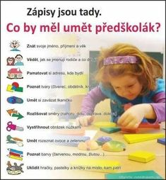 Čo by mal vedieť predškolák Preschool Education, Kindergarten Activities, Activities For Kids, Primary Teaching, Primary School, School Humor, I School, Ways Of Learning, Kids Learning