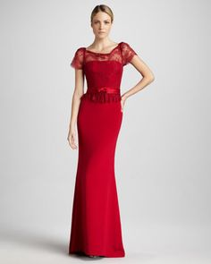 Short-Sleeve+Column+Gown+with+Lace+Bodice+by+Notte+by+Marchesa+at+Bergdorf+Goodman.  Beautiful and affordable!