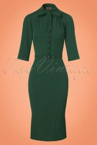 Miss Candyfloss 40s Gina Pencil Dress in Green
