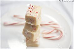 """White Chocolate Peppermint Fudge (I do not normally condone the so-called """"white chocolate"""" but it is a good vehicle for candy canes and looks so festive!)"""