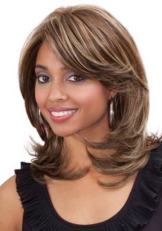 Bobbi Boss Synthetic Lace Front Wig - Sage Bobbi Boss Lace Front Wig has been created for customers with exceptional taste in premium class products: Our lace patch is most delicately crafted wi Medium Shaggy Hairstyles, Haircuts For Medium Hair, Medium Hair Cuts, Short Hair Cuts, Medium Hair Styles, Curly Hair Styles, Beauty Hair Extensions, Brown Blonde Hair, Black Hair