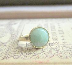 A menthe verte anneau d'Aventurine pierre précieuse vert clair moderne simple classique Classy Minimal Bijoux