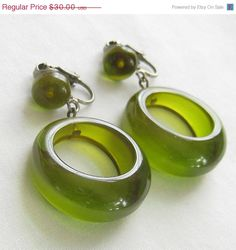 SALE Vintage Translucent Mint Jelly Green Bakelite Earrings by MyVintageJewels, $27.00
