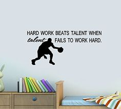 HARD WORK BEATS TALENT WHEN TALENT FAILS TO WORK HARD  WALL DECAL HOME DECOR 13 X 28 * Read more reviews of the product by visiting the link on the image. (This is an affiliate link and I receive a commission for the sales) #Home And Kitchen