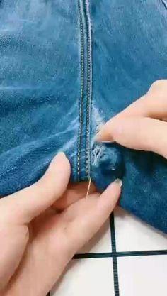 用户hat-trick(@hat_trick666) on TikTok: #fyp #foryou Diy Clothes Life Hacks, Diy Clothes And Shoes, Clothing Hacks, Sewing Clothes, Sewing Jeans, Sewing Basics, Sewing Hacks, Sewing Tutorials, Sewing Crafts