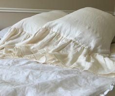 CREAM Mermaid Long Ruffle Pillow Cases | Handcrafted by SuperiorCustomLinens.com