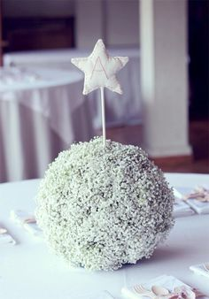 Baby's breath centerpiece (different topper since this is a baptism party)...also like the burlap & fabric wrap, and tissue flower wall (see website)