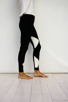 2568284f8 Black Knitted Leggings with White Triangle Pattern