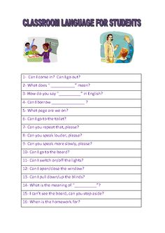 Classroom Language For Students