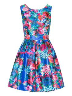 Beautiful blue floral Review dress in 50s style