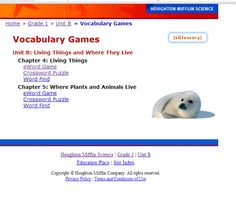 Houghton Mifflin Science website - can use their vocabulary games and other info.