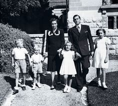 Waiting in exile.  Infante Juan, heir apparent to the Spanish crown, and wife Infanta Maria with their 4 children while living in exile in Switzerland, 1947.  The Spanish monarchy wouldn't be restored for another 28 years, and then Infante Juan would be passed over as King in favor of his son, Juan Carlos.  Infante Juan didn't officially accept that reality and renounce his rights to the Spanish throne until his son had been King for 8 years.