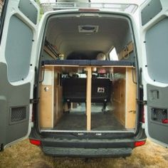 Folding bed - Sprinter Van Camper Conversion - lots of ideas on converting a van or buy it from Habat Sprinter Camper, Mercedes Sprinter, Camper Beds, Bus Camper, Camper Life, Rv Campers, Vw Bus, Sprinter Van Conversion, Camper Conversion