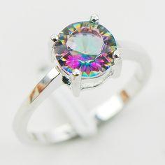 เว้าตัดสายรุ้งMystic Topazจำลองเงินแท้925งานแต่งงานออกแบบแหวนขนาด5 6 7 8 9 10 11 12 A28ฟรีเรือ