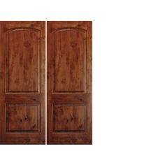 8 Foot Tall Mahogany Tiffany Arch Top Double Wood Entry