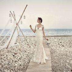 eddy k bridal 2017 cap sleeves vneck sheath lace wedding dress (aires) mv elegant romantic