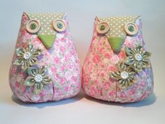 Fabric owl bookends