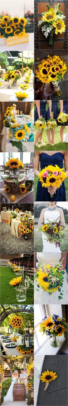 70 Rustic Sunflower Wedding Ideas - See more at: www. wedding colors september / fall color wedding ideas / color schemes wedding summer / wedding in september / wedding fall colors Trendy Wedding, Perfect Wedding, Fall Wedding, Rustic Wedding, Our Wedding, Dream Wedding, Rustic Sunflower Weddings, Sunflower Wedding Themes, Wedding Table