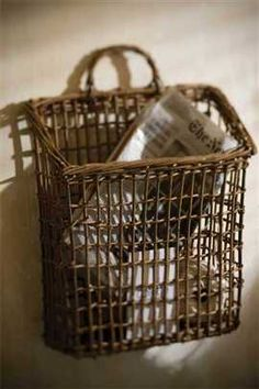 Woven Willow Letter Pocket by Vagabond Vintage®- for my desk Baskets On Wall, Hanging Baskets, Storage Baskets, Wicker Baskets, Wall Basket, Rustic Baskets, Bamboo Basket, Willow Weaving, Basket Weaving