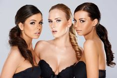Three sensual beautiful young women by Daniel_Dash on PhotoDune. Three sensual beautiful beguiling young women wearing black lingerie looking seductively at the camera as they pose t. Long Ponytail Hairstyles, Long Ponytails, Summer Hairstyles, Ballerinas, Long Hair Tips, Foto Real, Trends, Black Lingerie, Sensual