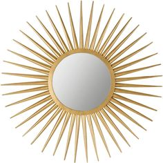 Safavieh Sun Flair Mirror Gold ($154) ❤ liked on Polyvore featuring home, home decor, mirrors, gold home accessories, sun shaped mirror, sun mirror, gold mirrors and sunburst mirror