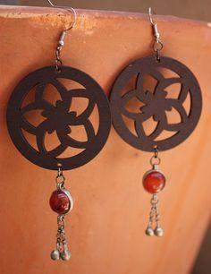 Boho style wood laser cut earrings.