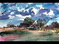 """Watercolor paintings Landscape Demo """"Summer Day"""" - YouTube"""