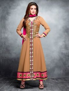 Beige Georgette Anarkali Suit with Embroidery Work