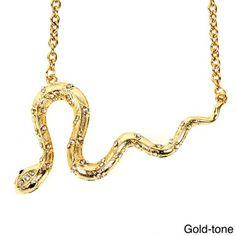 Goldtone Crystal Studded Snake Necklace