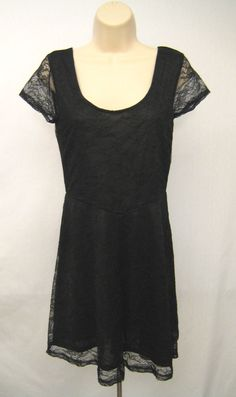 H&M Divided Flare Dress Women Size 10 Black Floral Lace Short Sleeve Scoop Neck  #HM #Shift #Casual #Dress #Women #Size10 #Black #Lace #Floral #FlareDress #CapSleeve #ScoopNeck