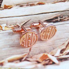 Rose Gold Mens CuffLinks,Groom Wedding Gift,Engraved Monogram CuffLinks,Gift for…